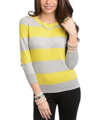 Gray & Lime Stripe Pullover