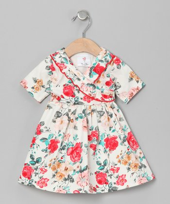 White Callie's Floral Surplice Dress - Infant