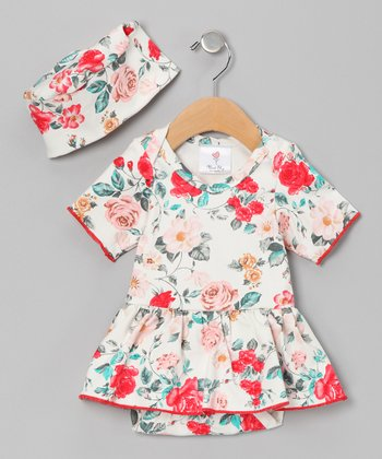 White Callie's Floral Organic Skirted Bodysuit & Beanie - Infant