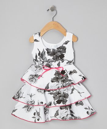 White Stella's Floral Organic Havana Dress - Infant & Toddler