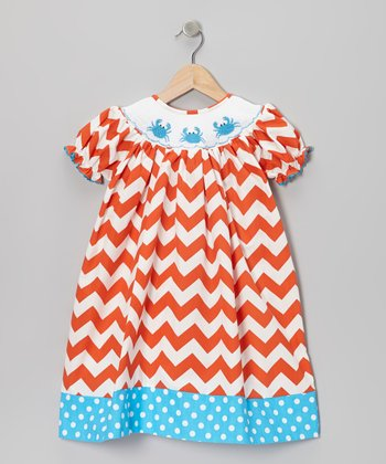 Orange Zigzag Smocked Bishop Dress - Infant, Toddler & Girls