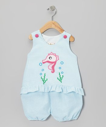 Turquoise Seersucker Sea Horse Tank & Bloomers - Infant