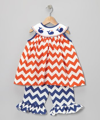 Orange & Navy Whale Tunic & Shorts - Infant & Girls
