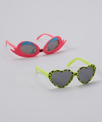 Green Heart Sunglasses Set