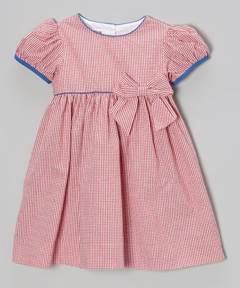 Red Gingham Seersucker Puff-Sleeve Dress - Infant & Toddler