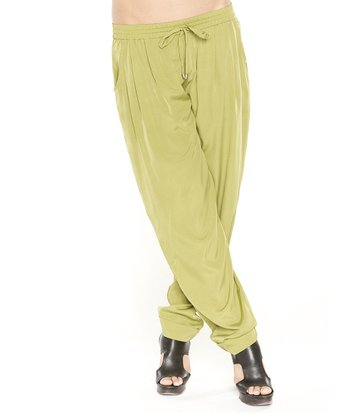 Lime Drawstring Harem Pants