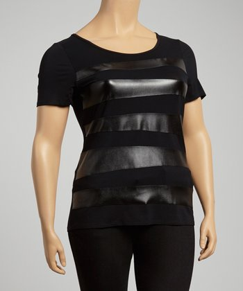 Black Slant Stripe Scoop Neck Top - Plus