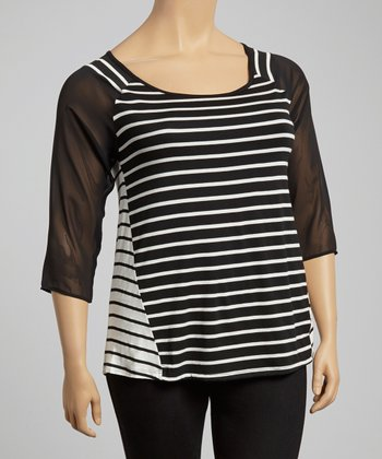 Black & White Stripe Scoop Neck Top - Plus