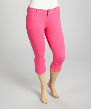 Fuchsia Twill Capri Pants - Plus