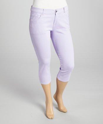 Lavender Twill Capri Pants - Plus