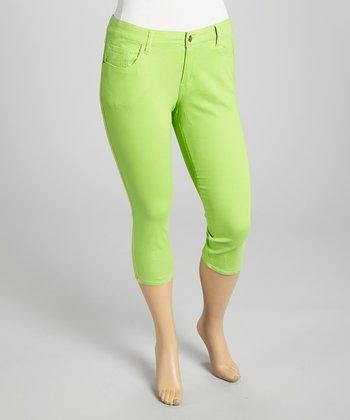 Lime Twill Capri Pants - Plus
