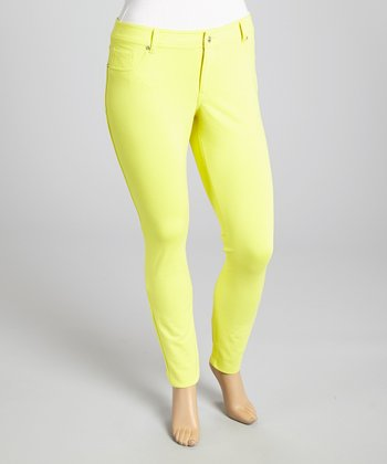 Yellow Ponte Jeggings - Plus