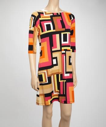 Shelby & Palmer Pink & Black Rectangle Shift Dress