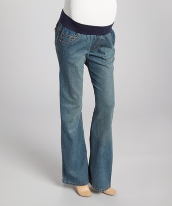 Medium Wash Flare Maternity Jeans - Women
