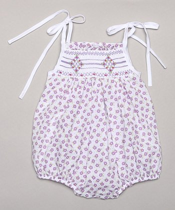 White & Purple Flower Bubble Bodysuit - Infant