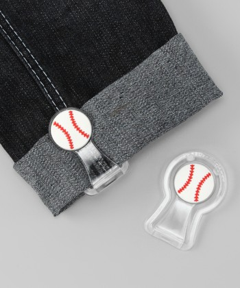 White & Red Baseball Pants Cuff Fastener Set