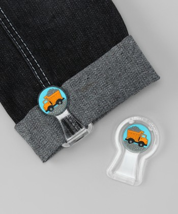 Blue & Yellow Dump Truck Pants Cuff Fastener Set