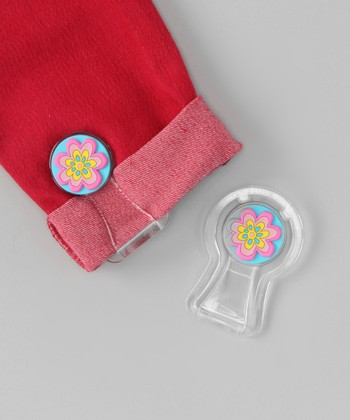 Blue & Pink Flower Pants Cuff Fastener Set