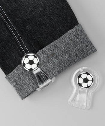 White & Black Soccer Ball Pants Cuff Fastener Set