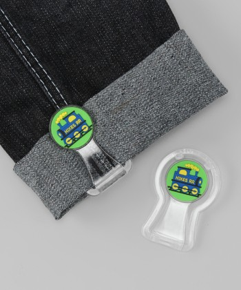 Green & Yellow Train Pants Cuff Fastener Set