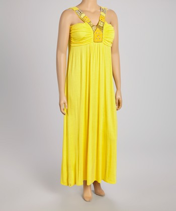 Yellow Embellished Maxi Dress