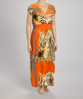 Orange Animal Maxi Dress