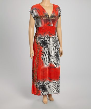 Red Animal Maxi Dress