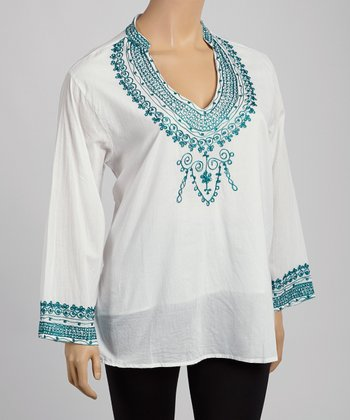 Teal & White Embroidered V-Neck Tunic - Plus