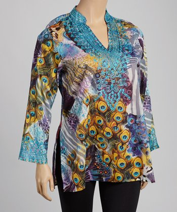 Teal & Mustard Peacock Embroidered Tunic - Plus