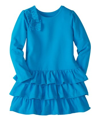 Blue Feather Row of Bows Ruffle Dress - Infant, Toddler & Girls