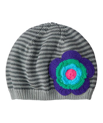 Clay Gray Stripe Crochet Flower Beanie