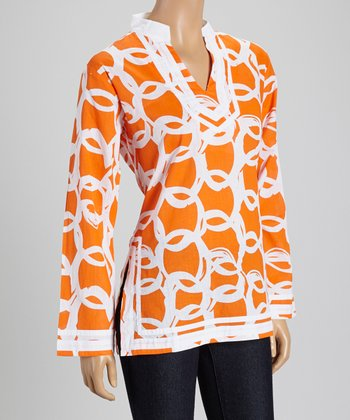 Orange & White Ribbon Tunic