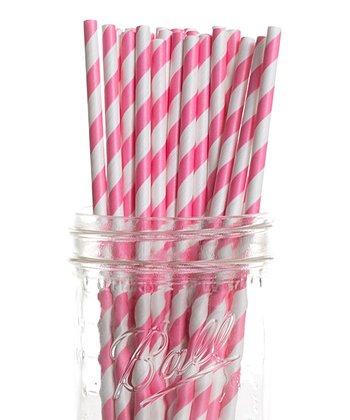 Bubblegum Pink Stripe Cake Pop Straw - Set of 25