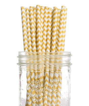 Yellow Zigzag Vintage Drinking Straw - Set of 25