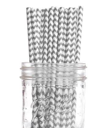 Gray Zigzag Vintage Drinking Straw - Set of 25