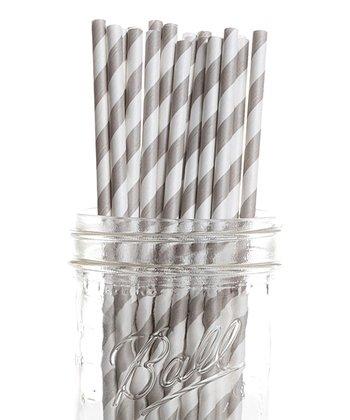 Gray Stripe Vintage Drinking Straw - Set of 25
