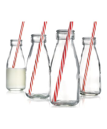 Vintage Milk Bottle & Straw - Set of Four