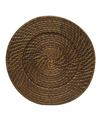 Brown Rattan Charger Plate - Set of Four