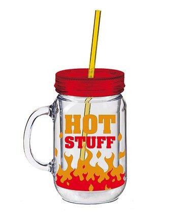 'Hot Stuff' Insulated Mason Jar Cup & Straw