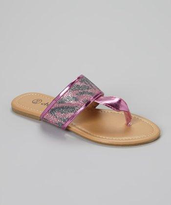 Chatties Fuchsia Zebra Glitter Sandals