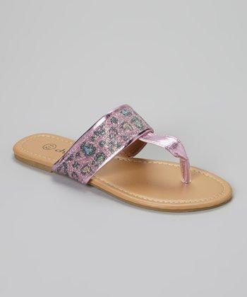 Chatties Light Pink Leopard Glitter Sandals