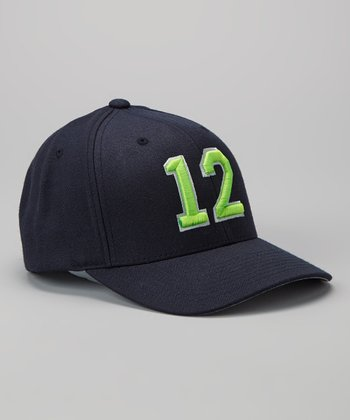 Navy & Green '12' Wool Baseball Cap - Adult