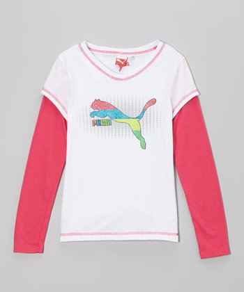 White & Fuchsia Slider Layered Tee - Toddler & Girls