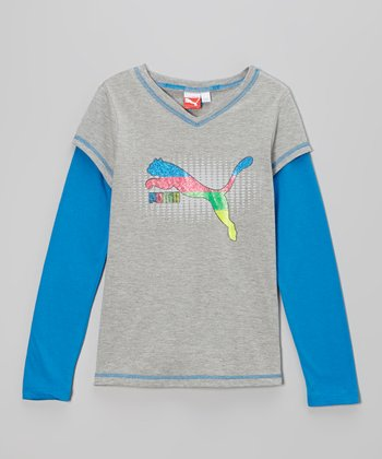 Heather Gray & Blue Slider Layered Tee - Toddler & Girls