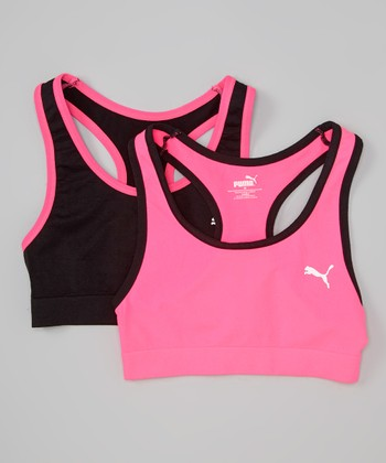 Pink & Black Sports Bra Set - Girls
