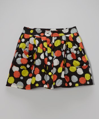 Black & Orange Polka Dot Skirt - Girls