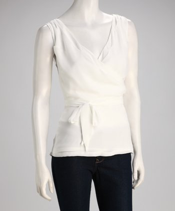 Off-White Chiffon Surplice Top