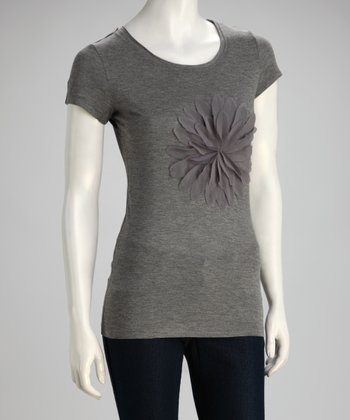 Heather Gray Flower Tee