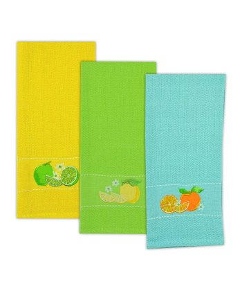 Citrus Fruit Embroidered Dish Towel Set