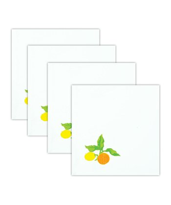 Lemon & Orange Embroidered Napkin - Set of Four